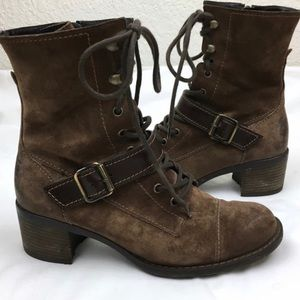 Paul Green Combat Lace-up Brown Suede Ankle Boots